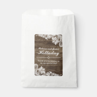 Rustic Wood & Vintage Lace Wedding Personalized Favour Bags