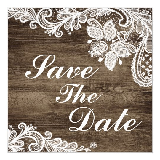 Rustic Wood & Vintage Lace Wedding Save The