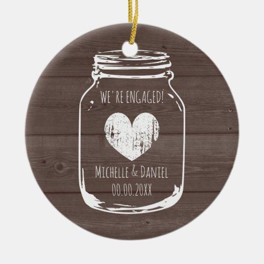 Rustic wood vintage mason jar engagement Christmas Christmas