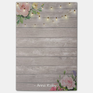 Rustic Wood Watercolor Floral Elegant String Light Post-it® Notes