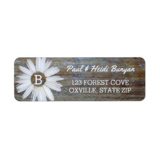Rustic Wood Wedding Label | Daisy Flower Boho