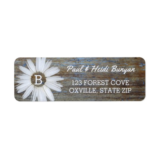 Rustic Wood Wedding Label | Daisy Flower Boho Return Address Label