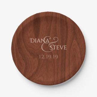Rustic Wood Wedding Monogram Paper Plate