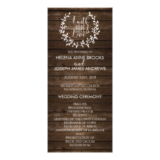 Rustic Wood Wedding Program Rack Card