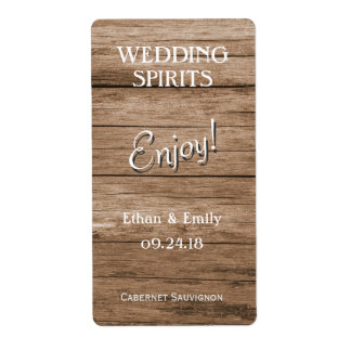 Rustic Wood Wedding Spirits Wine Bottle Shipping Label