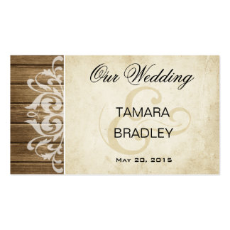 Rustic Wood Wedding Website   brown white Business Card Templates