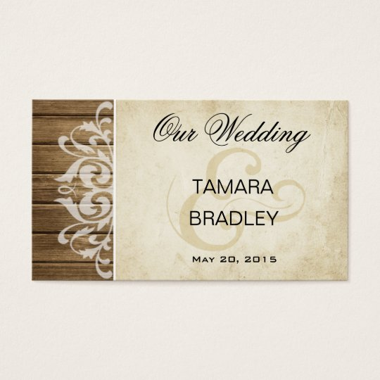 Rustic Wood Wedding Website | brown white Business Card