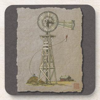 Rustic Wood Windmill Coaster