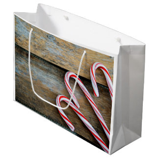 Rustic Wood with Christmas Candy Canes Large Gift Bag