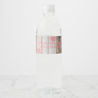 Rustic Wood with Pink Flowers Business Event Water Bottle Label