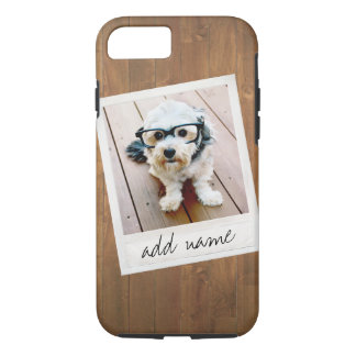 Rustic Wood with Square Photo Frame iPhone 8/7 Case