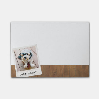 Rustic Wood with Square Photo Frame Post-it Notes