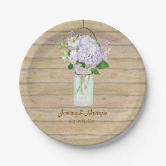 Rustic Wood Wooden Barn Fence Hydrangea Mason Jar Paper Plate