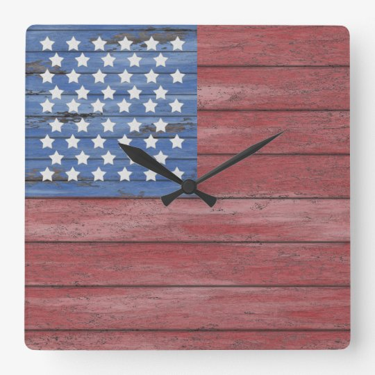 Rustic Wooden Barn Wall American Flag Patriotic Square