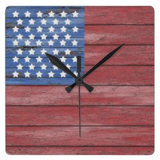 Rustic Wooden Barn Wall American Flag Patriotic Wallclock