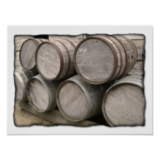 Rustic Wooden Barrels Poster