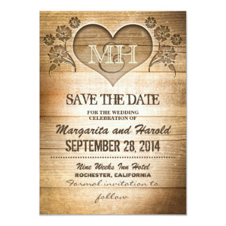 "rustic wooden country save the date cards 4.5"" x 6.25"" invitation card"
