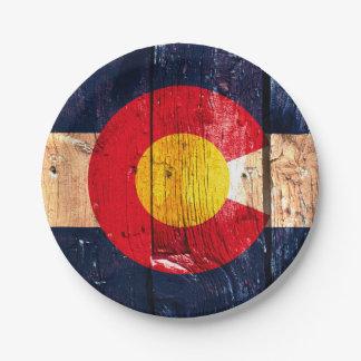 Rustic wooden Denver Colorado skyline paper plates