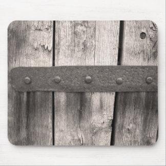 Rustic Wooden Door and Hinge Mouse Mat