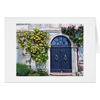RUSTIC WOODEN DOOR WITH YELLOW AND RED ROSES GREETING CARD