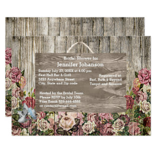 Rustic Wooden Fence Painted Roses Bridal Shower Card