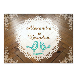 Rustic Wooden Floor Blue Bird and Round Lace Card