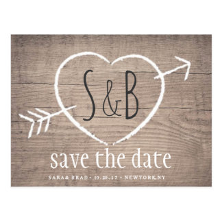 Rustic Wooden Heart Elegant SAVE THE DATE Postcard