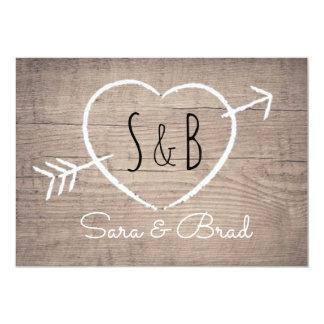 Rustic Wooden Heart Elegant Wedding Invitation