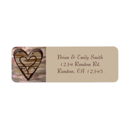Rustic wooden hearts love return address labels