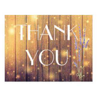 Rustic Wooden Light Lavender Thank You Postcard