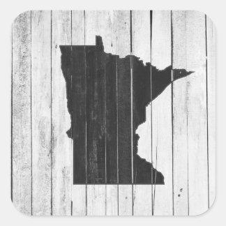 Rustic Wooden Minnesota Black and White Square Sticker