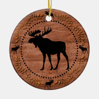 Rustic wooden moose circle ornament