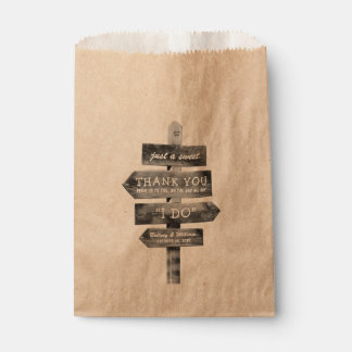 Rustic Wooden Post Country Personalized Wedding Favour Bags