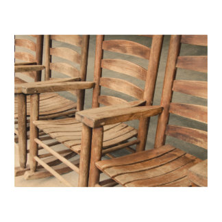 Rustic Wooden Rocking Chairs Wood Wall Art