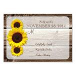 "Rustic Wooden Sunflower Wedding Invitation RSVP1.0 3.5"" X 5"" Invitation Card"