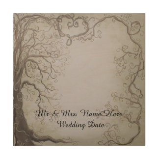 Rustic Wooden Wedding Guestbook Tree and Vine Wood Print