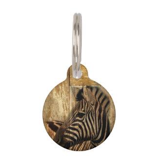 rustic woodgrain Africa safari animal  zebra Pet Tags