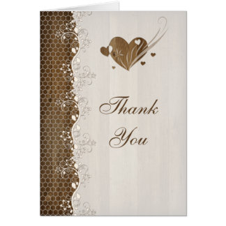 Rustic Woodgrain Floral Lace Hearts Thank You Card