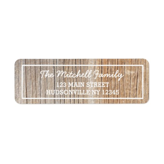 Rustic Woodgrain Personalised Address Label