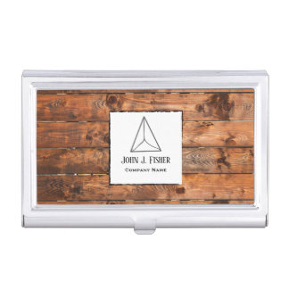 Rustic woodgrain stylish business card holder