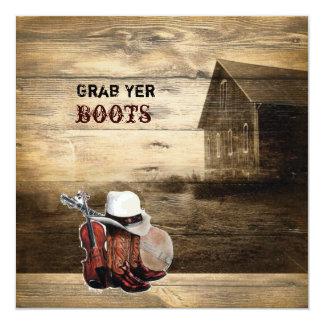 rustic woodgrain western farmhouse countrywedding 13 cm x 13 cm square invitation card