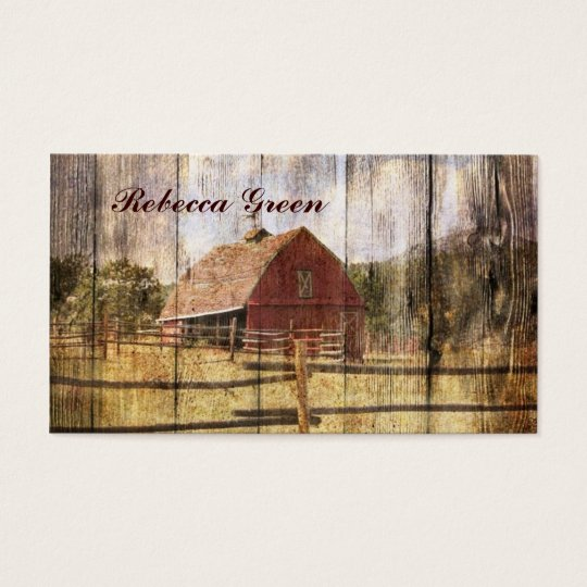 rustic woodgrain western red barn country business card