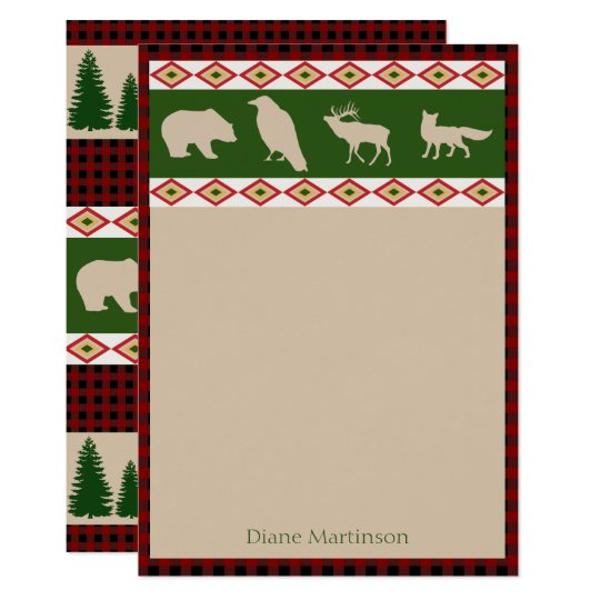 Rustic Woodland Animals Personalised Stationery Card