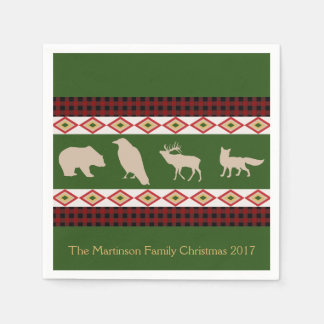 Rustic Woodland Animals Personalized Holiday Disposable Napkin