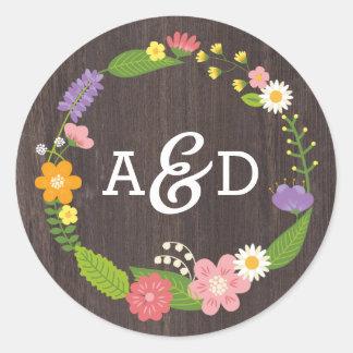 Rustic Woodland Bohemian Floral Wreath Wedding Round Sticker