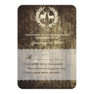 Rustic Woodland Buck and Deer Wedding RSVP Card