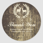 Rustic Woodland Buck and Deer Wedding Thank You Round Sticker