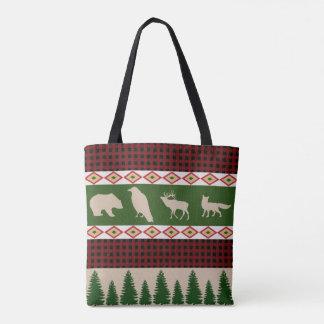 Rustic Woodland Christmas Holiday Tote Bag