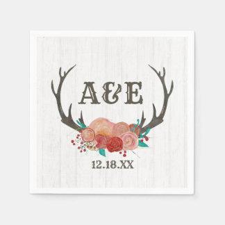 Rustic Woodland Deer Antler Boho Wedding Monogram Disposable Serviette