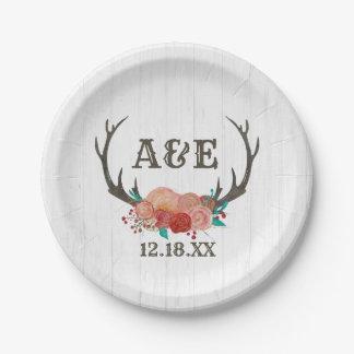 Rustic Woodland Deer Antler Boho Wedding Monogram Paper Plate